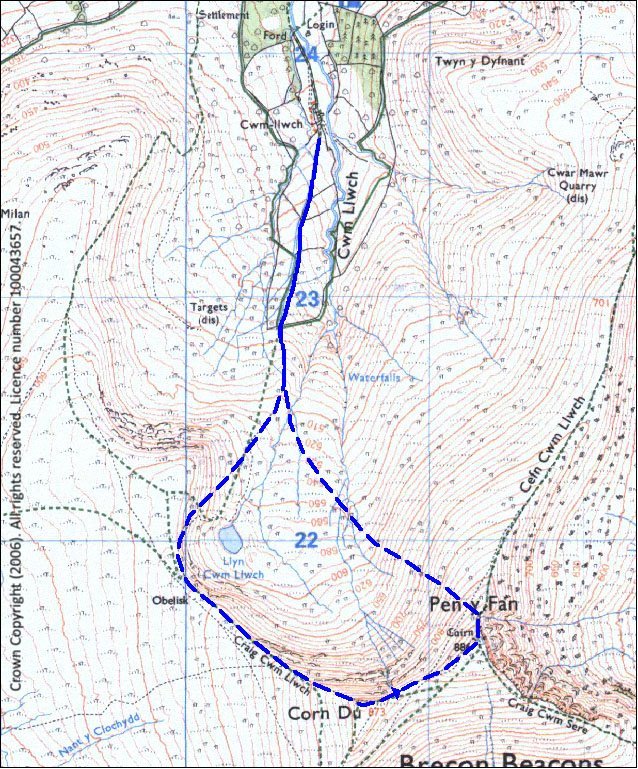 Pen y Fan Race Route Map