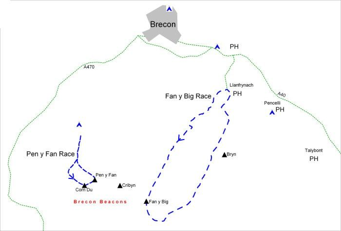 Sketch of the Brecon area showing location of facilities and races